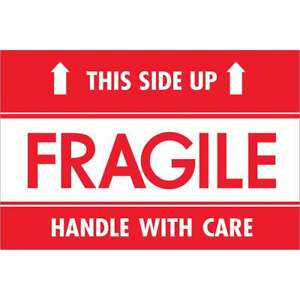 Tape Logic Labels fragile This Side Up Hwc 2 X 3 Red white 500 roll