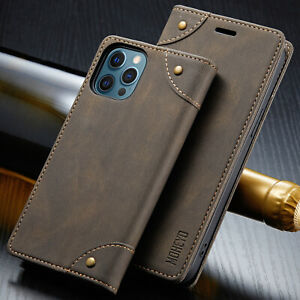 Slim Magnetic Flip Cover Card Leather Wallet Case For Iphone 12 Pro Max Mini