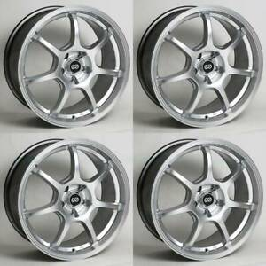 17x7 5 Enkei Gt7 5x108 38 Hyper Silver Wheels Rims Set 4