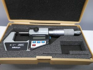 Mitutoyo Digital 0 1 Micrometer 00005 Carbide Face Works Great W case 2
