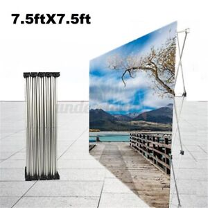 Banner Stand Sign Frame Telescopic Folding Trade Backdrop Party Show Flower Wall