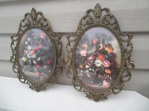Pair Convex Floral Pictures Made In Italy Metal Ornate Frames 10 Vintage