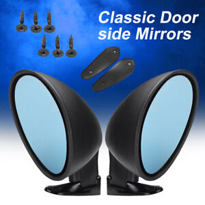 Universal Car Door Wing Rear Side View Mirror Blue Anti glare Vintage Black L r
