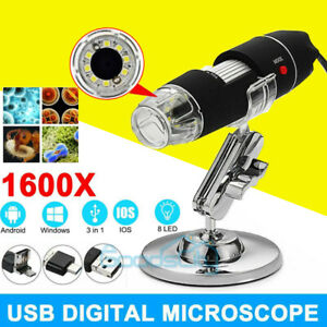 Pro 1600x Zoom 8 led Microscope Digital Magnifier Endoscope Camera Video W stand