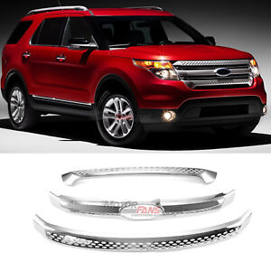3x For Ford Explorer 2011 2012 2013 14 15 Front Grill Grille Cover Trim Chrome