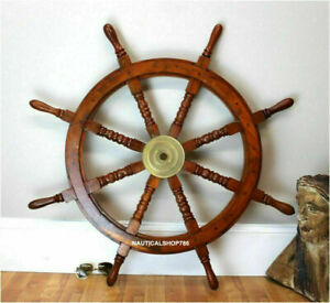 Nautical Vintage Brass Ship Wheel 36 Inch Wooden Steering Wheel Pirate Decor