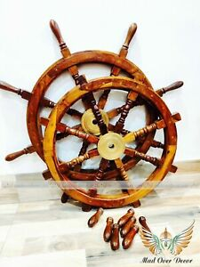 Set Of 2 Pcs Wooden Ships Wheel 36 Inch Captains Wall Sculpture Vintage Decor
