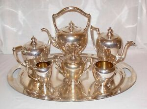 Vintage Reed Barton Sterling Silver Tea Coffee Set With Ss Tray And Kettle