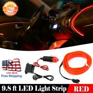 3m Car Neon Light Strip El Wire Decorative Atmosphere Red Cold Light Fit Nissan
