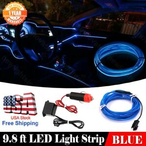 9 8ft Car Neon Lamp Strip El Wire Interior Atmosphere Blue Cold Light Fit Nissan