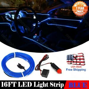 16 Ft Car Interior Atmosphere Neon Lamp Strip El Wire Blue Cold Light Fit Nissan