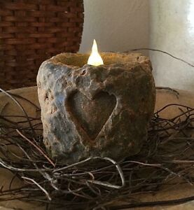 Primitive Country Blackened Beeswax Heart Flicker Candle Colonial Valentines Day