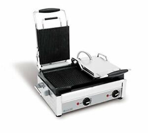 Sfe02365 Double Commercial Panini Press With Grooved Plates Cast Iron 240v