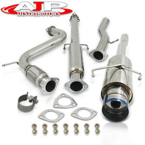 Stainless Steel Catback Exhaust 65mm Piping 4 5 Tip For 1994 1997 Honda Accord