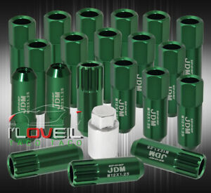 For Chevy M12x1 25 Locking Lug Nuts Open End Extend Aluminum 20piece Set Green