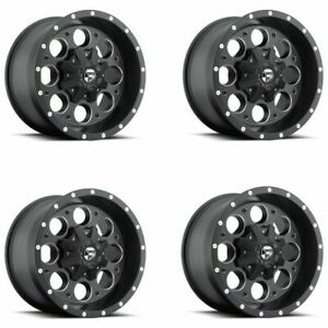 Set 4 17x9 Fuel D525 Revolver Matte Black Milled 8x170 Wheels 12mm Rims W Lugs