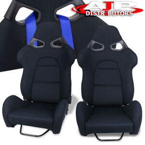 Cuga Style Jdm Reline Bucket Racing Automotive Car Seats W Sliders Black Cloth