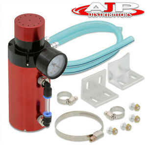 Universal Jdm Vip Engine Oil Catch Can Reservoir Tank Breather Air Gauge Kit Red