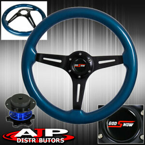 Blue Quick Release Blue Wood Black Aluminum Center Deep Dish Steering Wheel