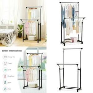 Double Rail Garment Rack Wheeled Clothing Hanger Indoor Home Bedroom Use 1 Pc