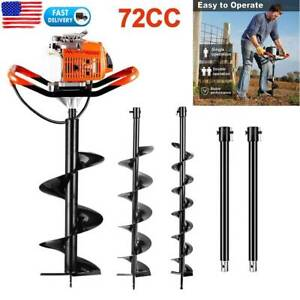 62 72cc Post Hole Digger Gas Powered Earth Auger Borer Fence Ground Drill 3 Bit