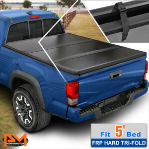 Hard Solid Tri Fold Tonneau Cover For 14 21 Ford Ranger 5 61 Short Truck Bed