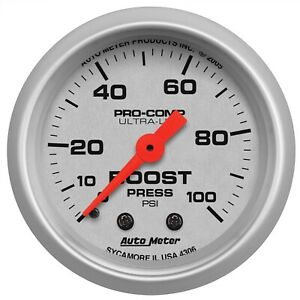 Autometer 4306 Ultra Lite Mechanical Boost Gauge With Silver Dial Face