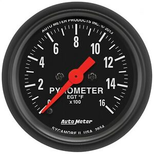 Autometer 2654 Z series Electric Pyrometer Gauge Kit W Fluorescent Red Pointer