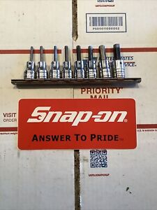 Snap On 8pc 3 8 Drive Sae Standard Hex Bit Socket Set 9 64 3 8 208efay