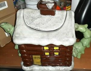 2004 Boyds Home Log Cabin Snowy Roof Trees Teapot
