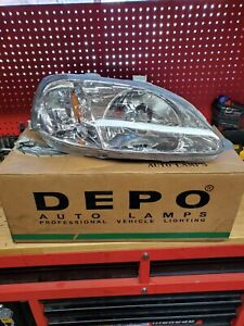 For 1999 2000 Honda Civic Ek Ej Lx Ex Si 2 4dr Clear Headlights Lamps Left right