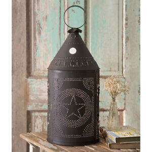 Primitive Colonial Rustic Two Foot Tin Star Paul Revere Lamp Free Shipping