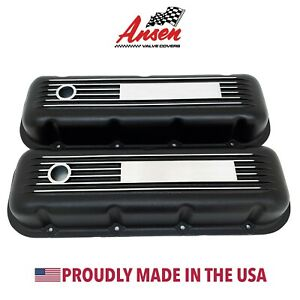 Big Block Chevy Valve Covers Finned Black Engravable Plate Ansen Usa