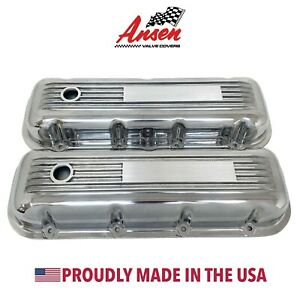 Big Block Chevy Valve Covers Finned Polished Engravable Plate Ansen Usa
