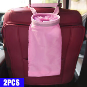 Car Trash Can Dust Bin Storage Bag Organizer Garbage Washable Foldable Pink A03