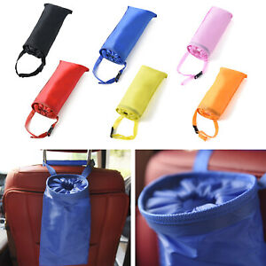 Car Trash Can Dustbin Storage Bag Headrest Organizer Garbage Washable Foldable