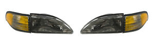 1994 1998 Mustang Or Cobra Smoked Smoke Headlights 4 Piece Set With Side Markers