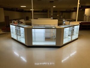 Retail Glass Display Case Jewelry Showcase Cash Register Checkout