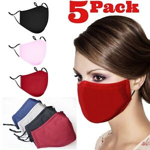Reusable Washable Adult Triple Layers Cotton Adjustable Nose Wire Face Mask
