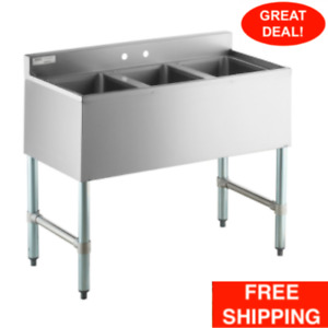 38 X 13 3 Compartment Bowl Underbar Counter Stainless Steel Sink Commercial