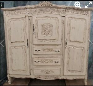 Shabby Chic French Provincial Antique Styled Armoire Double Wardrobe Dresser