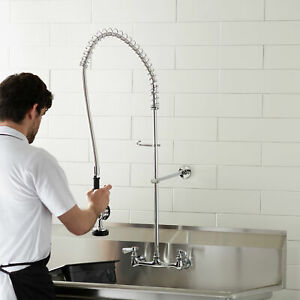 Wall Mount Pre rinse Faucet 8 Centers Commercial 3 Compartment Sink Nsf