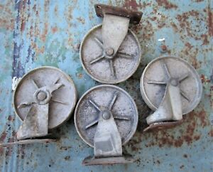 Bassick Matching Set 5 Casters Vintage Industrial Cart Swivel Cast Iron Large