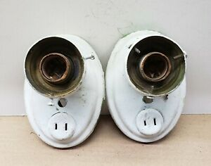 2 Vintage Brass Hanging Wall Sconce Light Fixtures With Plug In Sockets