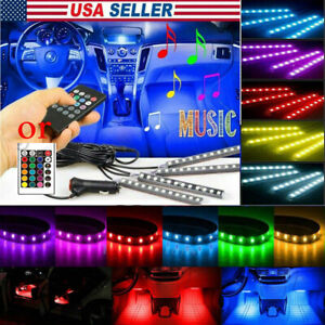 36 Led Car Suv Interior Decor Neon Atmosphere Light Strip Music Control Color