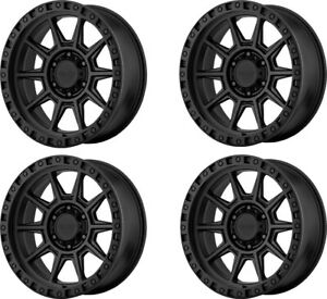 Set 4 16x8 American Racing Ar202 Cast Iron Black 5x4 5 Wheels 0mm Rims W Lugs