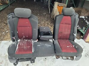 2003 Ford F150 F 150 60 40 Black And Red Cloth Split Bench Seat