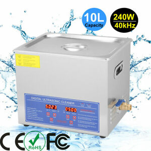Stainless Steel 10l Industry Heated Ultrasonic Cleaner Heating Heater W timer