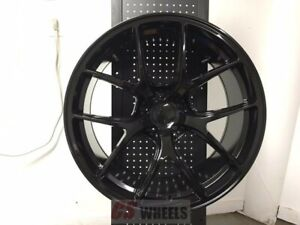 4 19 Vortex Gtr Style Gloss Black Concave Staggered Wheels Rims 5x114 3
