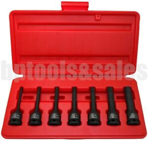 7pc 3 8 Dr Hex Impact Socket Bit Set Metric Long Air Allen Driver Cr Mo Steel